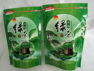 China Green Tea / Herbal Tea Eco friendly Printed Stand Up Pouches , Empty Printed Packaging Bags With Zipper supplier
