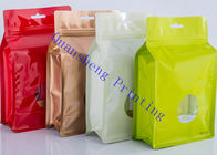 China Plastic Stand Up Square Bottom Coffee Storage Bags With Window Designs Waterproof factory