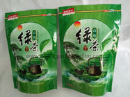 Green Tea / Herbal Tea Eco friendly Printed Stand Up Pouches , Empty Printed Packaging Bags With Zipper