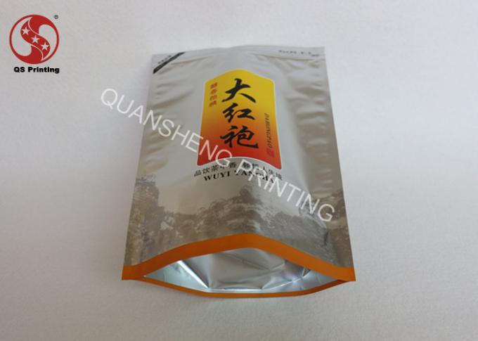 Printed Foil Stand Up Pouches With Zipper , Bottom Gusset Heat Seal Bags