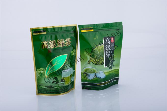 Green Tea Food Grade Tea Packaging Bags , Customized Stand Up Pouch With Ziplock