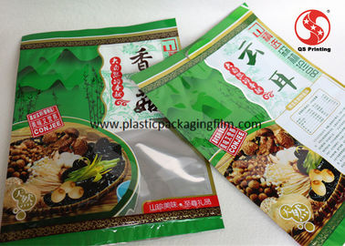 China Custom Plastic Food Packaging Bags For Mushroom Packing Transparent Window On Front Part distributor