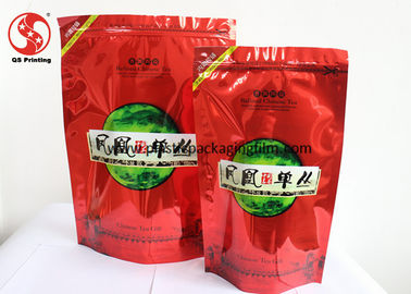 China Glossy Finished Reclosable Zipper Stand - Up Food Pouch For Coffee / Tea Packaging factory