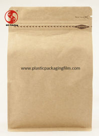 China Printed Ziplock Kraft Paper Stand Up Pouch Eco Friendly Eight Sided Heat Sealed factory