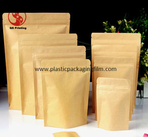 China Food Grade Stand Up Kraft Paper Pouches with Zipper and Easy Tearing Eco distributor