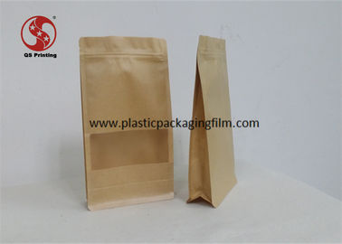 China Coffee / Tea / Food Packaging Kraft Stand Up Pouches With Window Zipper Sealing factory