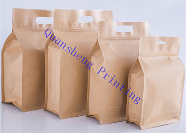 China Moisture Proof Kraft Paper Pouches , Kraft Brown Paper Bags For Coffee / Tea factory