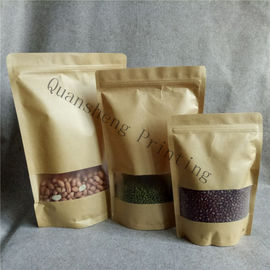 China Moisture Proof Stand Up Zipper Kraft Paper Bags With Window For Tea / Coffee bean / Dried fruits distributor